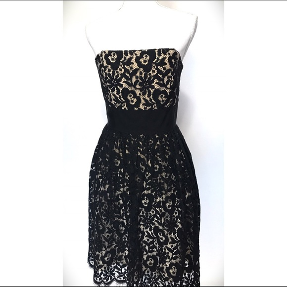 Milly Dresses Of New York Strapless Black Nude Lace Dress Poshmark